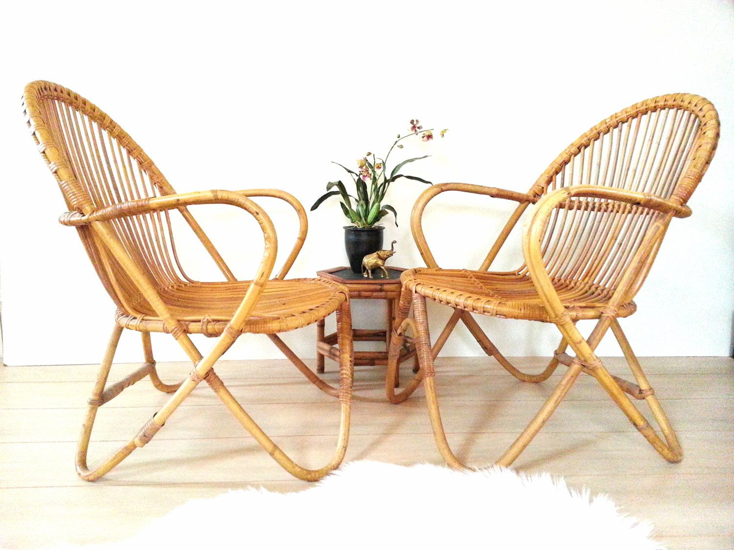 Pair Bamboo Chairs  Franco Albini Style Vintage Mid