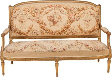 62371: A FIVE PIECE LOUIS XVI-STYLE UPHOLSTERED AND GIL : Lot 62371