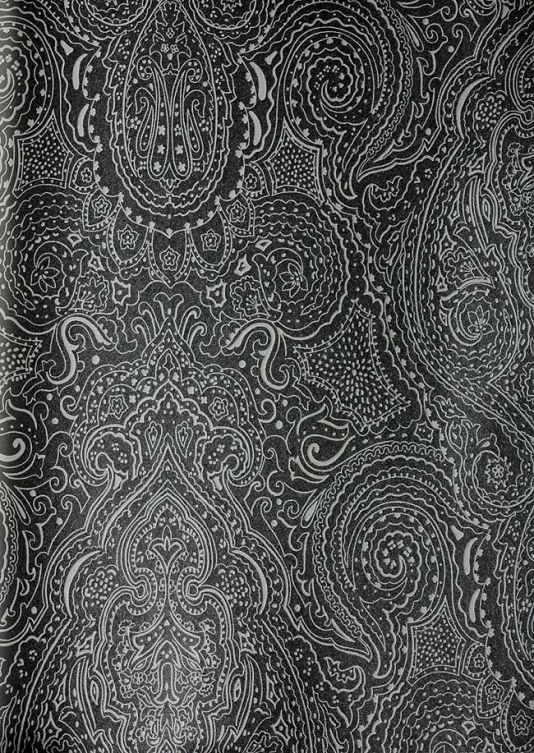 Vaujours paisley wallpaper a paisley design in silver on black
