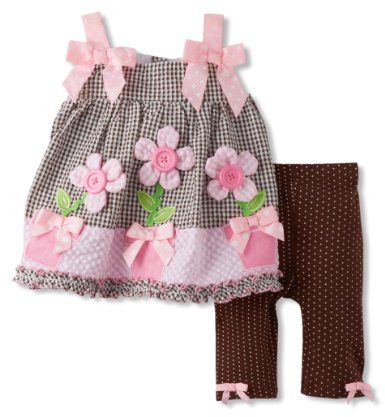 Bonnie Baby Baby-Girls Newborn Flower Pot Applique Legging Set