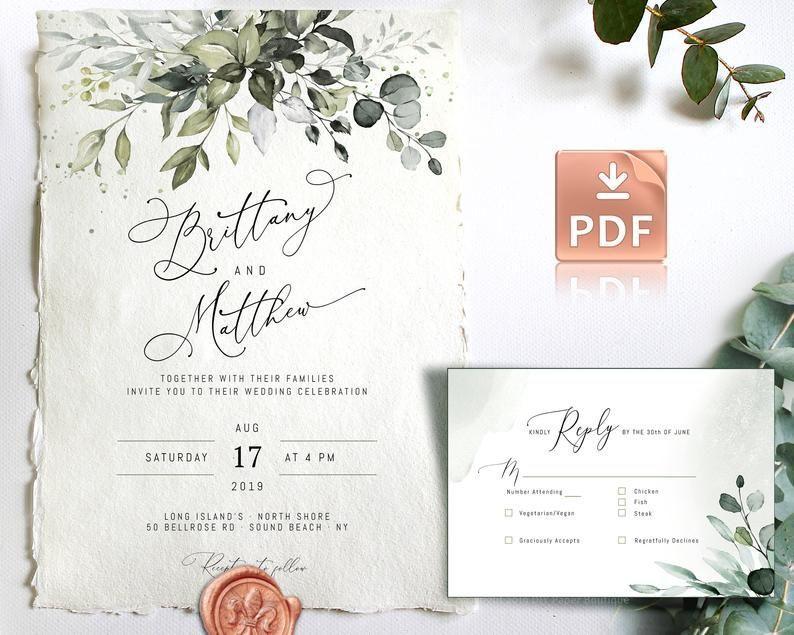 Boho Hochzeit Einladung Vorlage Kit Mit Aquarell Eukalyptus Grun