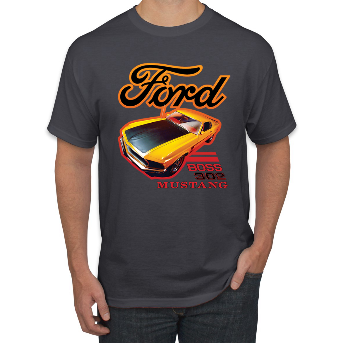 Ford Boss 302 Mustang Racing Classic Cars and Trucks Graphic T-Shirt, X-Large / …