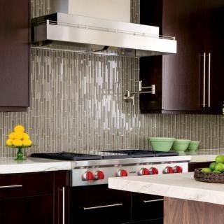 Pencil Glass Tile Vertical Kitchen Backsplash Trends Linear