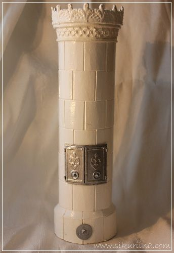 Dollhouse tiled stove from cardboard and lace trim