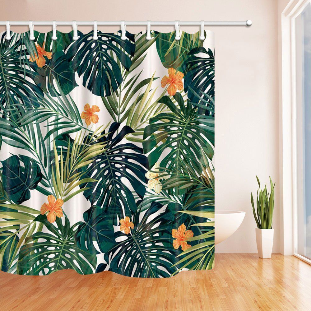 Tropical Decor Shower Curtains By Kotom Ttropical Plants Palm Leaves Hibiscus Flower Pattern Bath Curtain Leaf Curtains Shower Curtain Polyester Tropical Decor