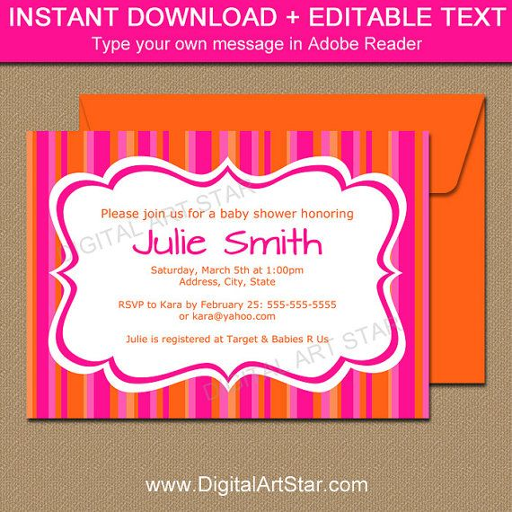 Hot Pink And Orange Baby Shower Invitation Baby Shower Ideas   Baby Shower  Word Template  Baby Shower Word Template
