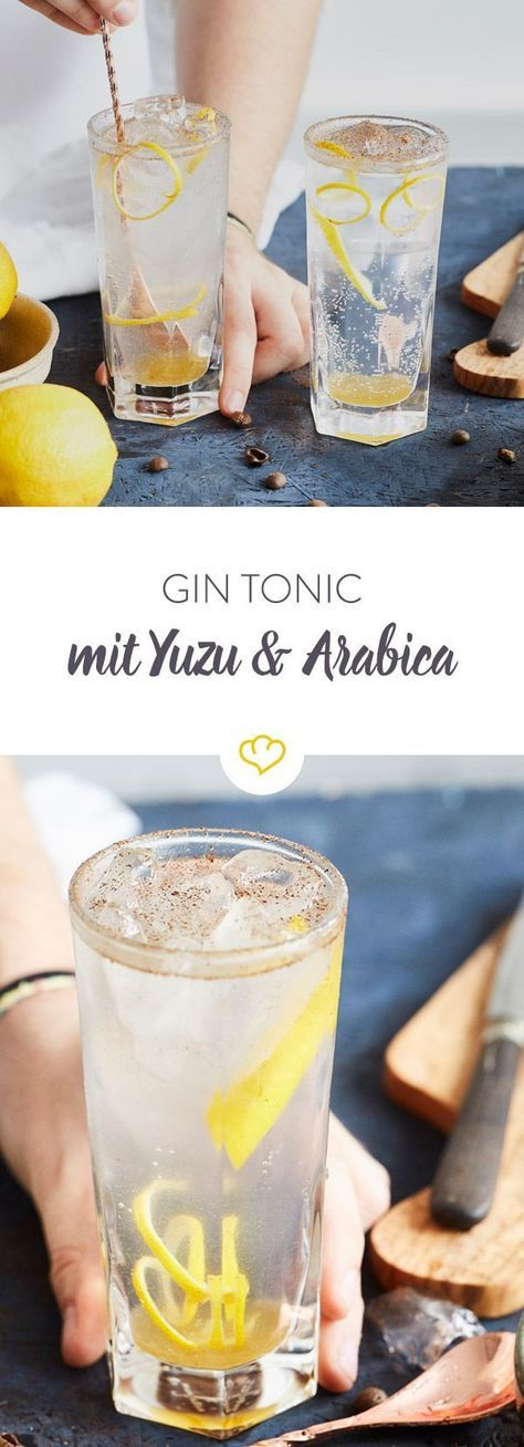 Gin Tonic mit Yuzu Saft und Arabica Bohnen #colddrinks