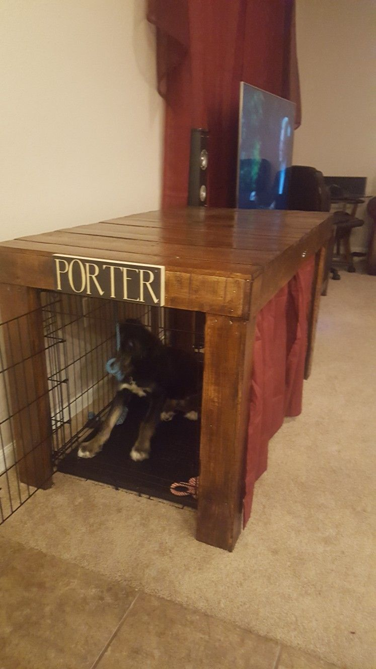 Dog crate table from reclaimed pallet wood My projects