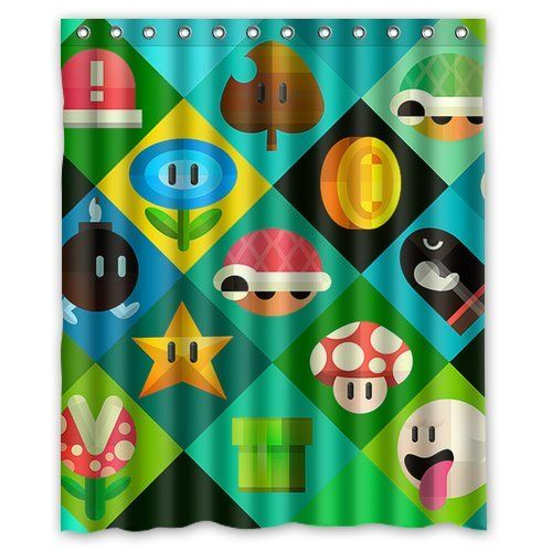 Fashionable Bathroom Collection Custom Super Mario Bros Shower Curtain Bath Decor 60 X 72
