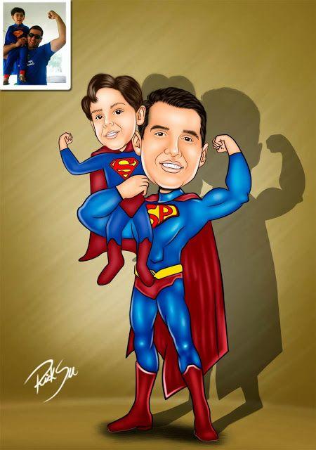 Caricaturas digitais, desenhos animados, ilustração, caricatura realista: Desenho de Super Heróis !!