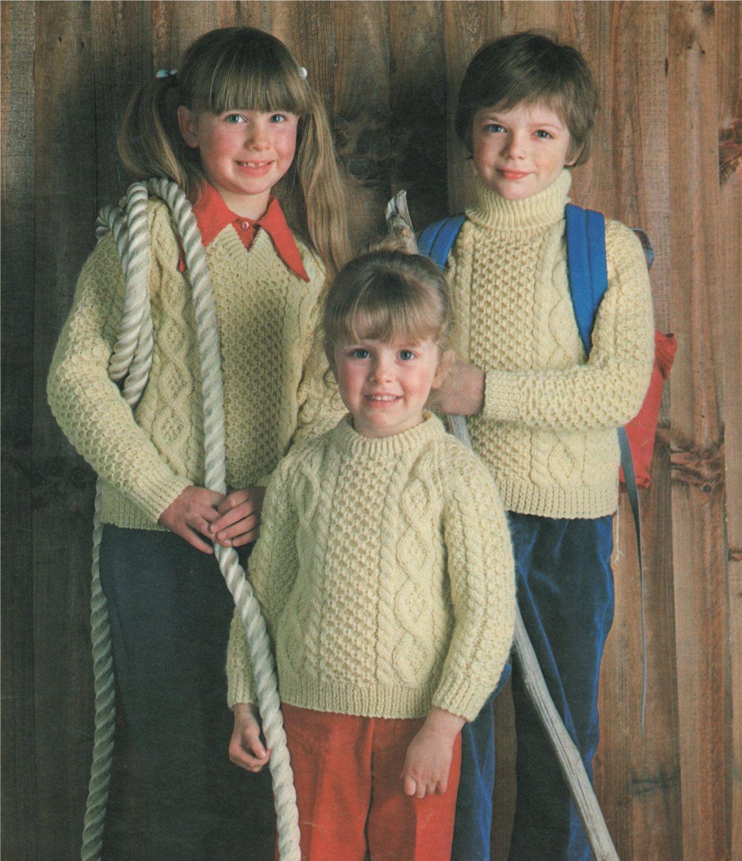 9eef0ae1fab PDF Childrens Aran Sweater Knitting Pattern : Boy or Girl 20, 22, 24 ...