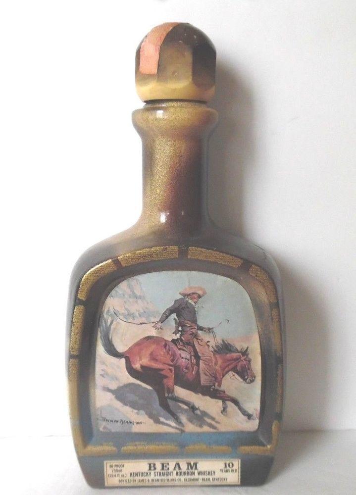 The Cowboy 1979 Jim Beam Decanter Frederic Remington Empty