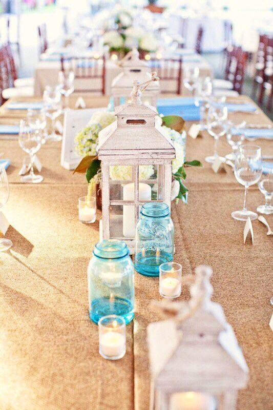 Perfekt Weiße Strandhochzeit Mit Blauen Akzenten DIY Kerzenhalter .