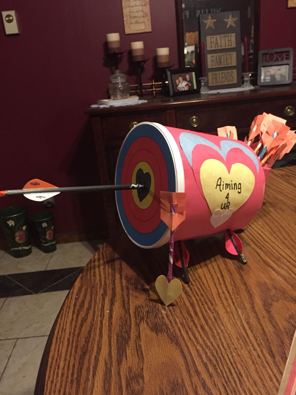 Valentine S Day Archery Box We Made For Our 9 Yr Old Son He Shoots Competitive 3d Archery Boys Valentines Boxes Valentine Day Boxes Valentines For Boys