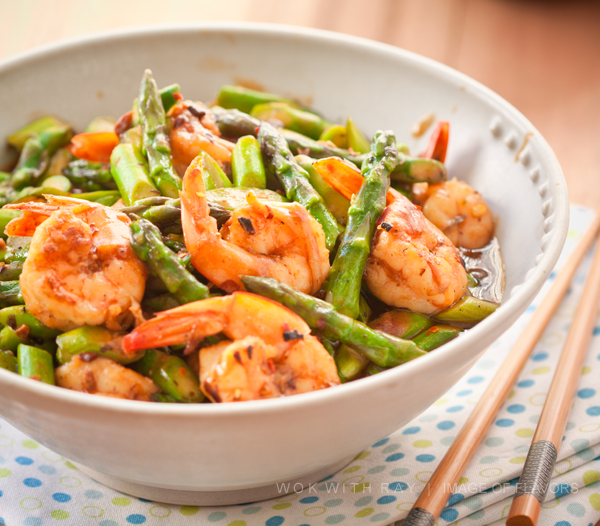 Stir fried shrimp and asparagus in black bean sauce (ginger, garlic and red pepper flakes bring on the spice)