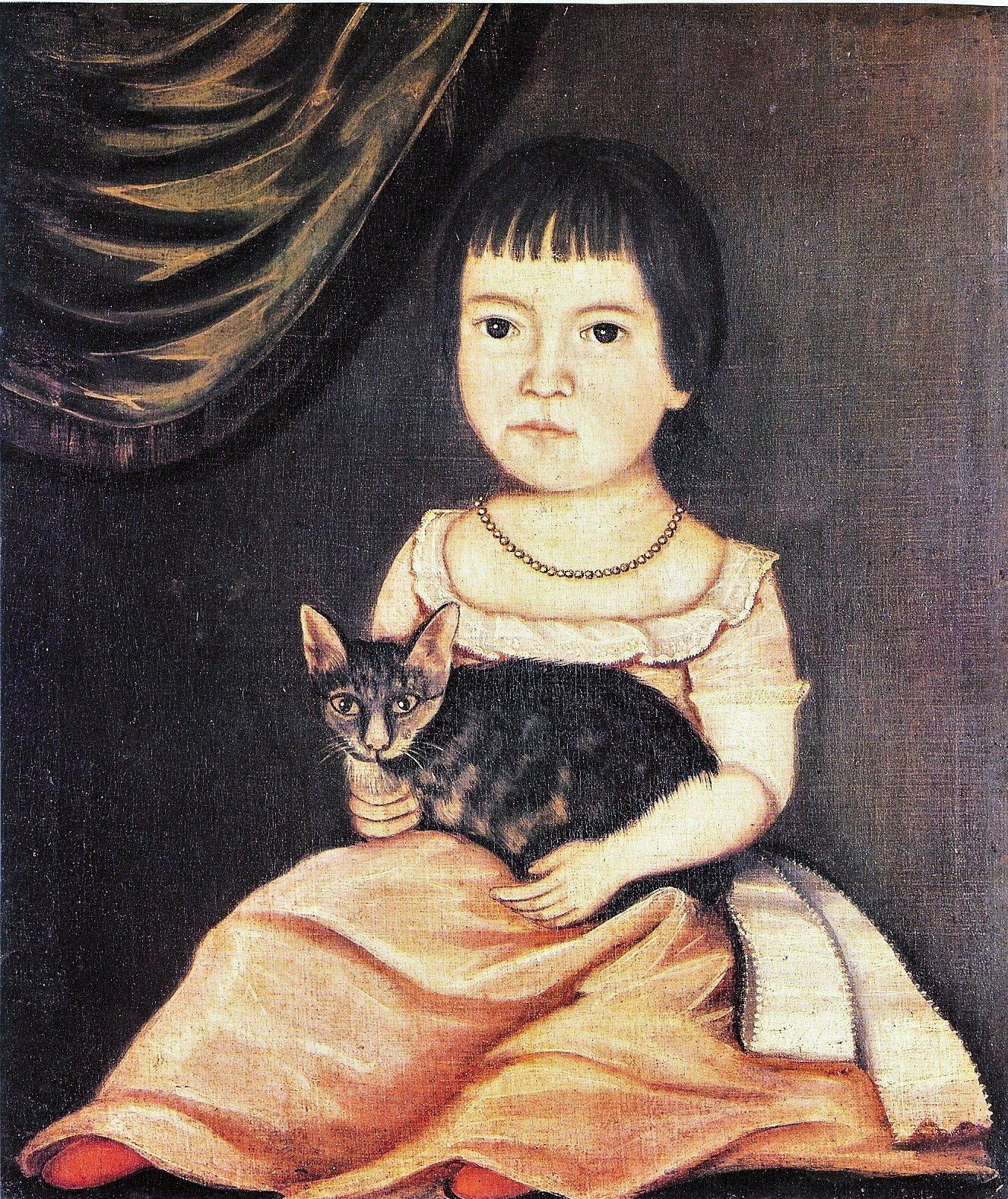 The Beardsley Limner (American painter, active 1785-1805 possibly Sarah Bushnell Perkins 1771-1831) Child Posing with Cat 1790s