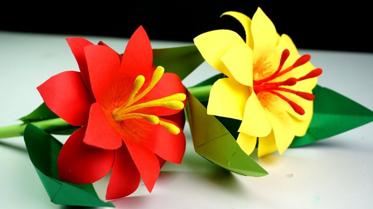 How To Make Paper Stick Flower Making Paper Flowers Step By Step
