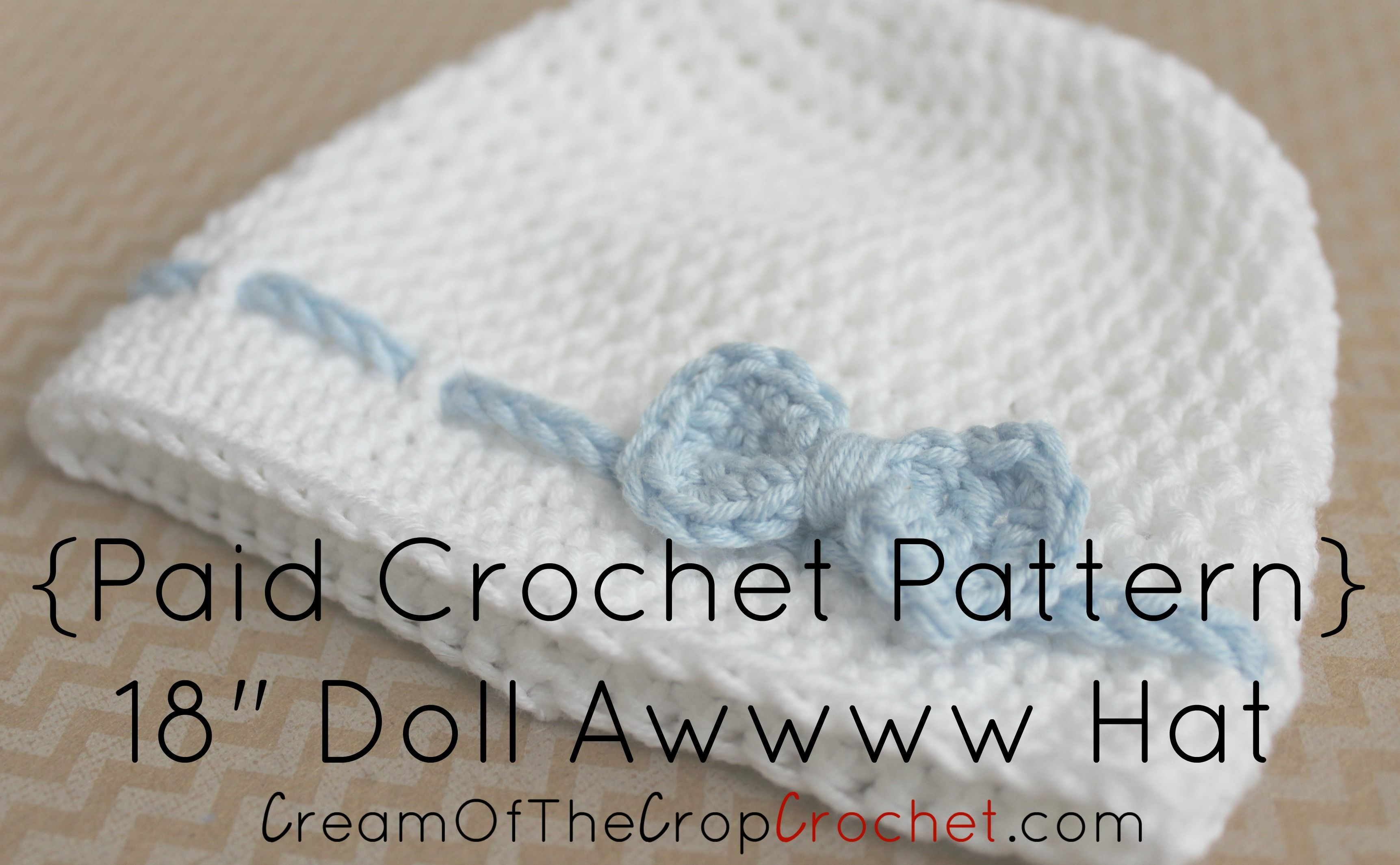 Cream of the Crop Crochet~18 inch Doll Awwww Hat #Crochet Pattern ...