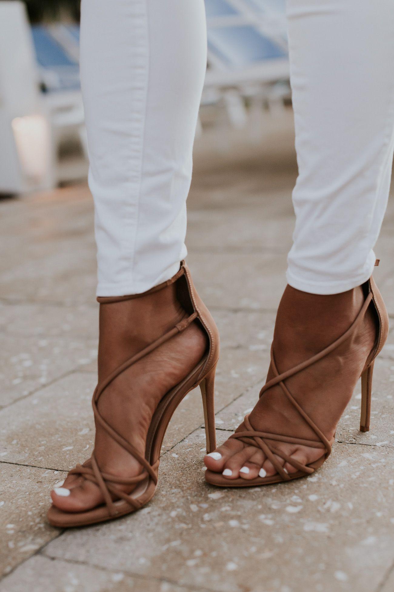 9bf4e87860 Ruffle Top | A Southern Drawl | Nude strappy heels, Ruffle top, Heels