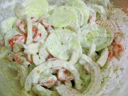 This is delicious, especially if you add the tomatoes and onions to it!! CREAMY YOGURT DILL CUCUMBER SALAD 3 medium cucumbers (about 1 1/2 pounds) 1/2 cup thick, Greek-style yogurt or reduced-fat s...