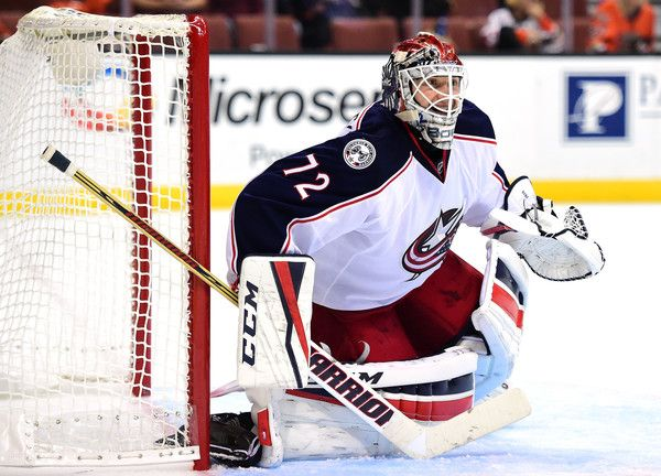 Sergei Bobrovsky #72 of the Columbus Blue Jackets in goal during the third period of a 4-0 win over the Anaheim Ducks at Honda Center on October 28, 2016 in Anaheim, California. (Oct. 27, 2016 - Source: Harry How/Getty Images North America)