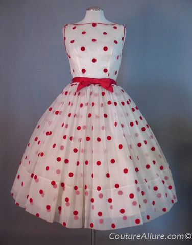 SOLD Vintage 50s Cupcake Dress Polka Dot Full Skirt Small bust 36 at Couture Allure Vintage Clothing