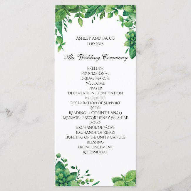 Green wedding program. Summer garden ceremony card #green #wedding #program #summer #garden