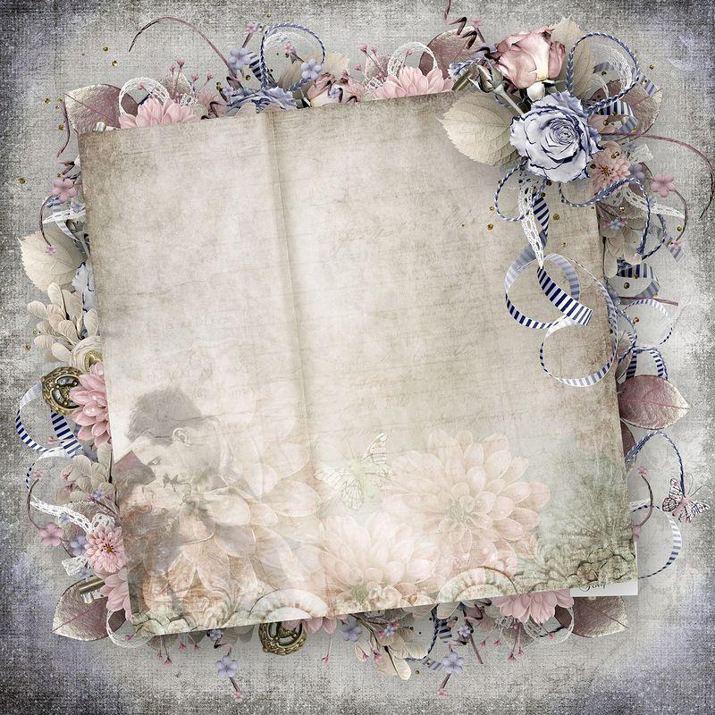 оттенки осени скрап набор старая открытка пожелаем