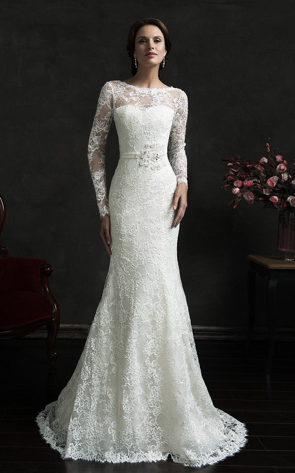 Long Sleeve Illusion Back Mermaid Lace Dress with Court