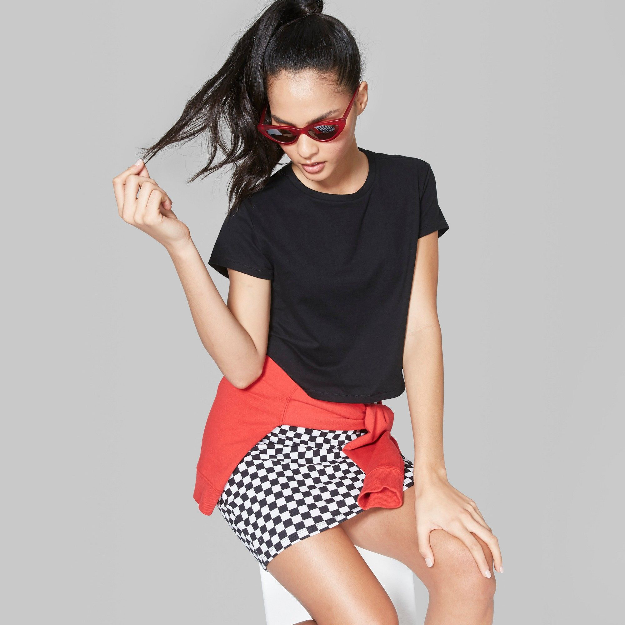 2ceffda7ef04 Women s Short Sleeve Boxy Cropped T-Shirt - Wild Fable Black XS ...