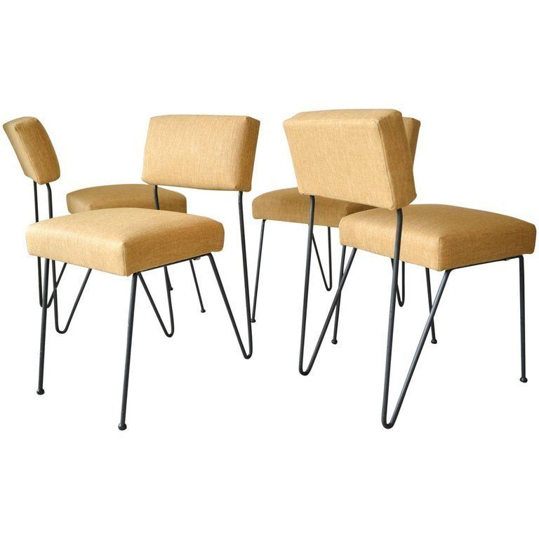 Rare Set of Four Iron Chairs by Inco of California, circa 1955