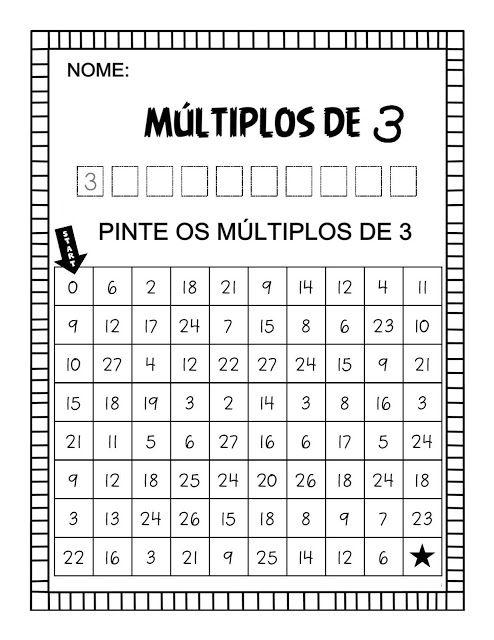 Múltiplos Atividades Pedagogica Suzano Atividades De Matemática Divertidas Operações Matemáticas Fichas De Exercícios De Matemática