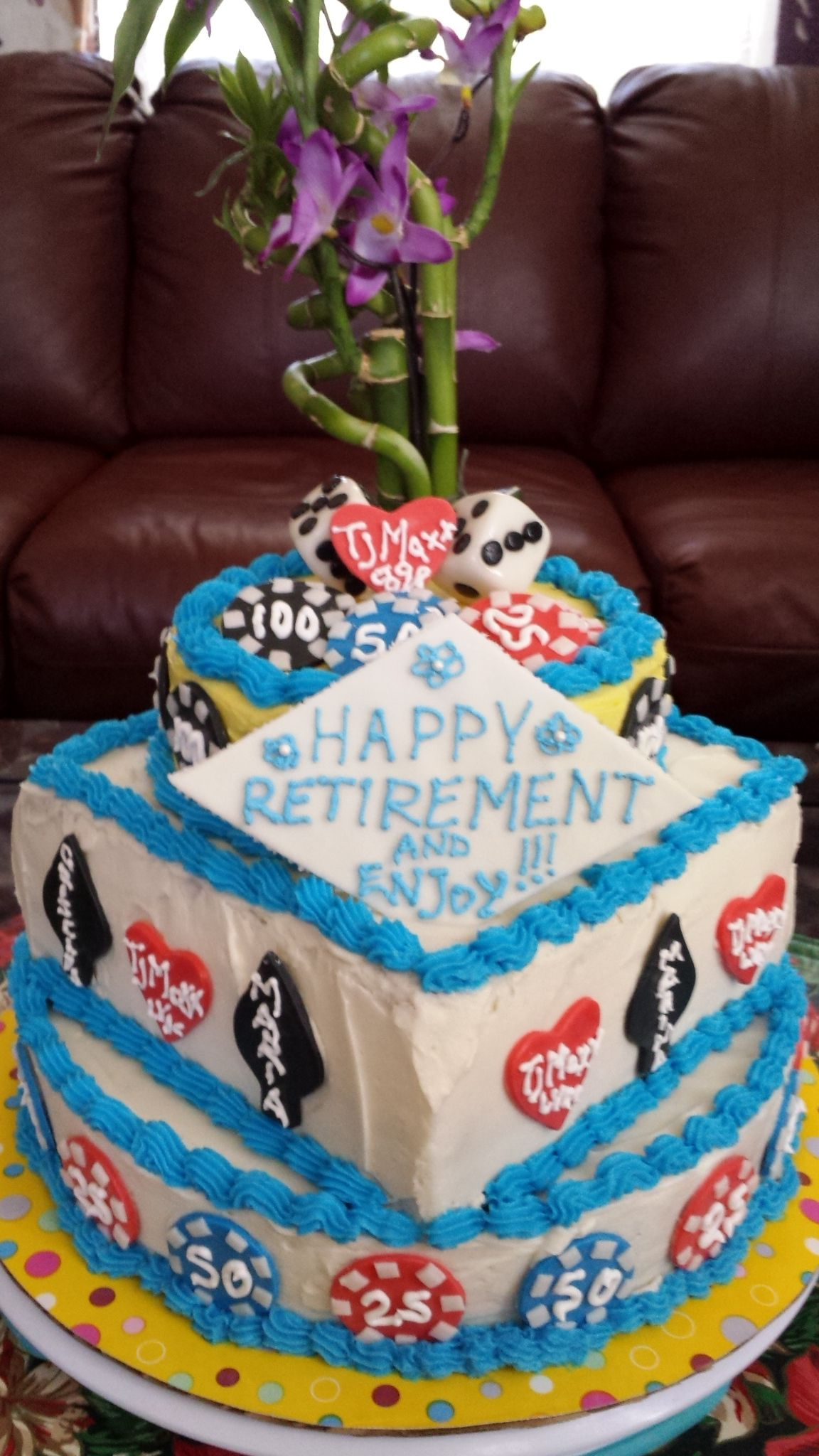 Casino dices and chips retirement cake for gregg with