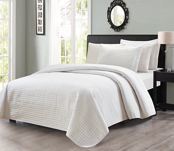 3pcs Solid Modern Quilted Coverlet Set (Queen, White) | Home Sweet ...