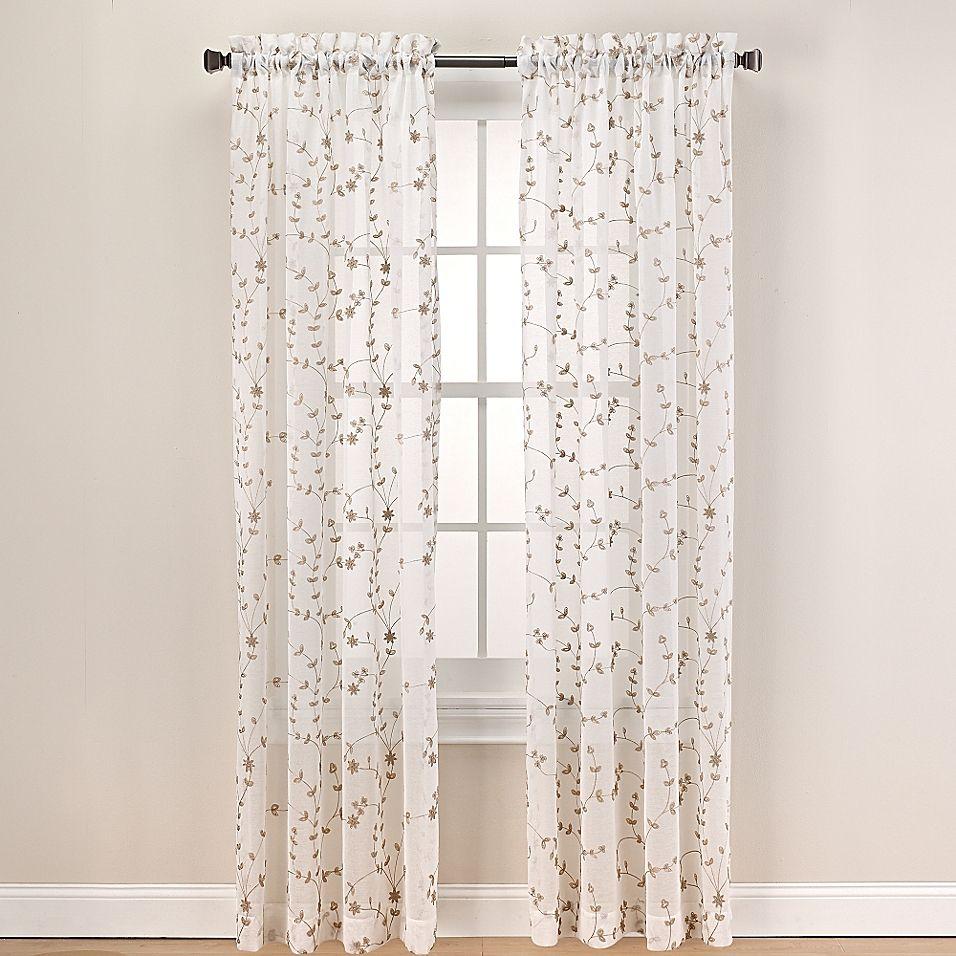 Caspia 95Inch Rod Pocket Sheer Window Curtain Panel in