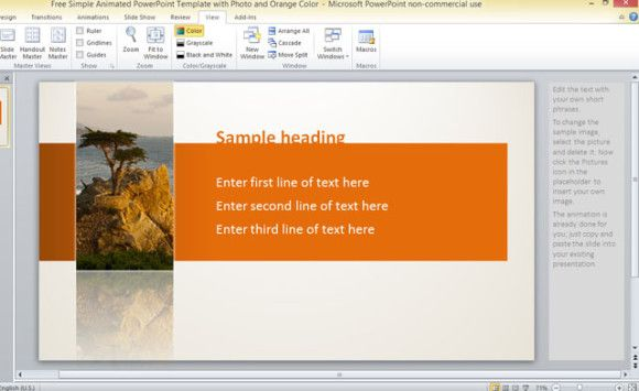 free simple animated powerpoint template with photo and orange color