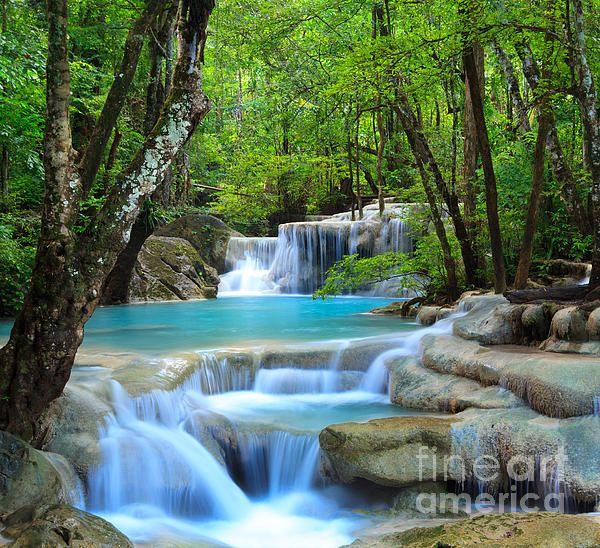 Erawan Waterfall In Thailand By Noppakun Wiropart Waterfall Wallpaper Waterfall Pictures Beautiful Waterfalls