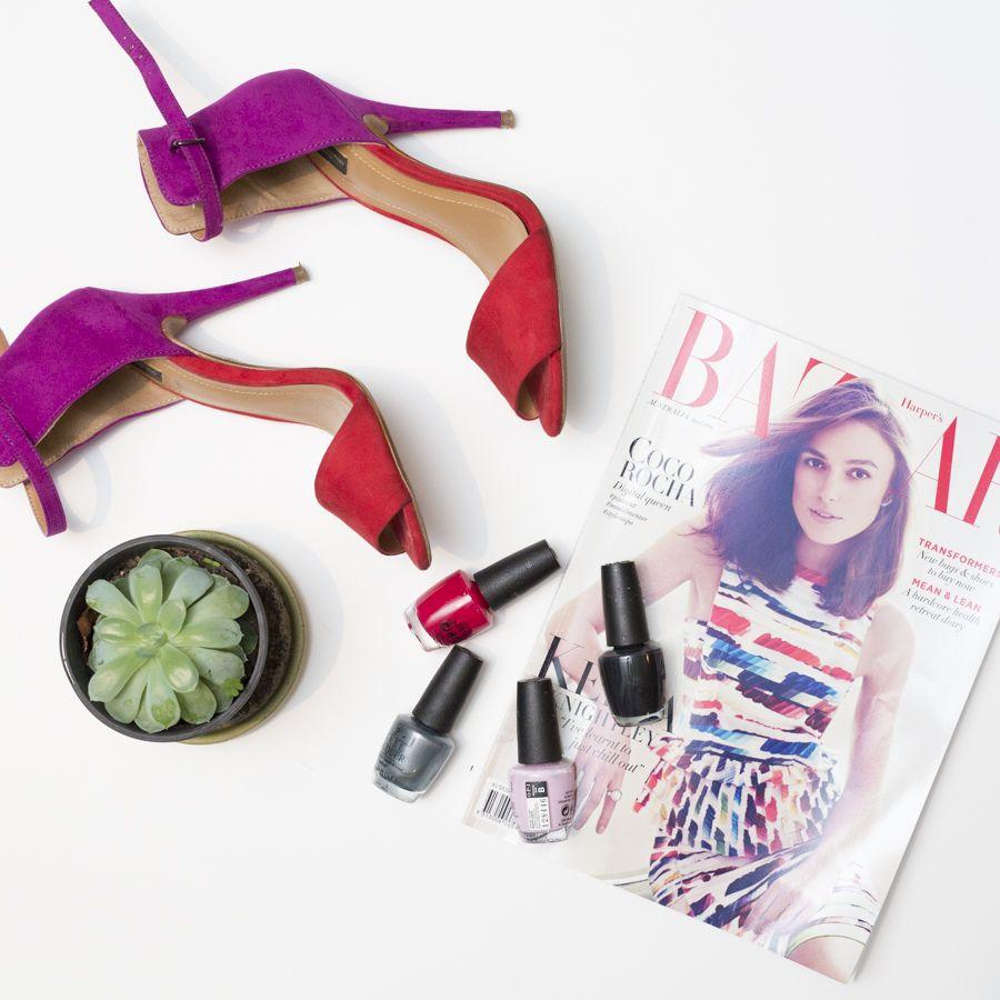 Fashion flatlay. Shoes, Heels, Nail Polish & Harpers Bazaar Magazine ...