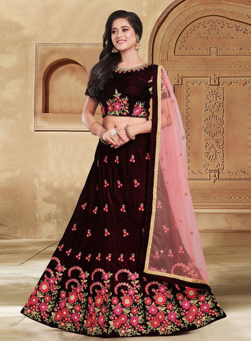 0c0c5668ca Buy Dark Brown Velvet Circular Lehenga Choli 146834 online at best price  from vast collection of Lehenga Choli and Chaniya Choli at  Indianclothstore.com.