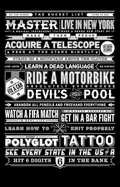 The Bucket List Bucket Life List Typography