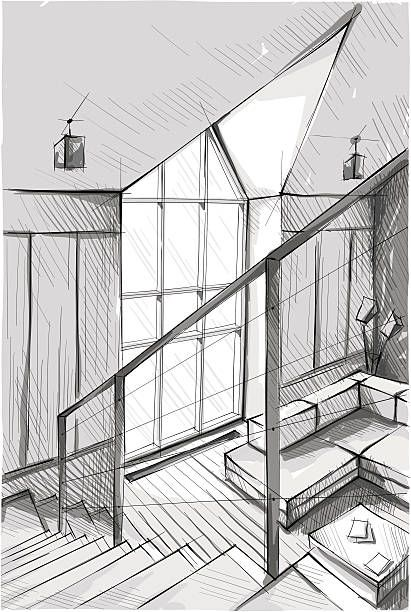 Vector illustration of interior design. In the style of drawing.