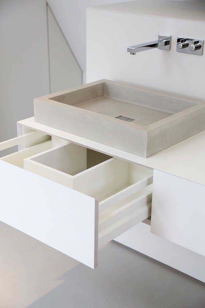 Schubladen Badezimmer | Betonwaschbecken Detail Schublade Schifflange Pinterest
