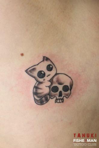tatouage kawaii chat