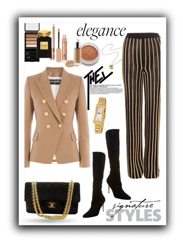 """Elegance"" by maytal-gazit on Polyvore featuring Jennifer Fisher, Balmain, Manolo Blahnik, Chanel, Le Métier de Beauté, Serge Lutens, Charlotte Tilbury, Omorovicza, Giorgio Armani and women's clothing"