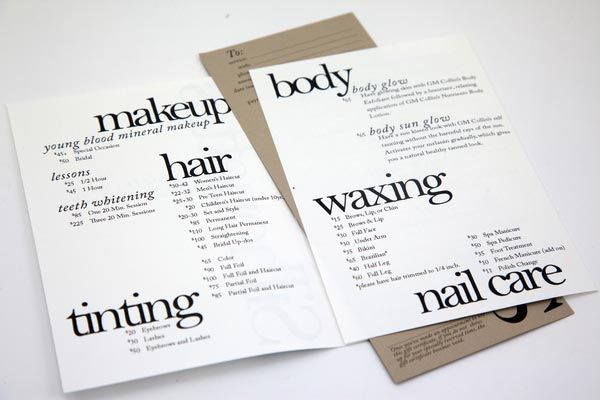 Stylish Brochure Designs  Salon Inspiration    Brochures