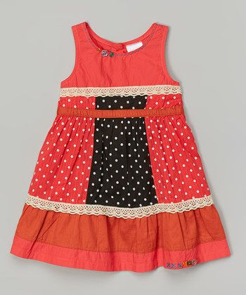 Coral Polka Dot Lace Panel Dress - Infant, Toddler & Girls
