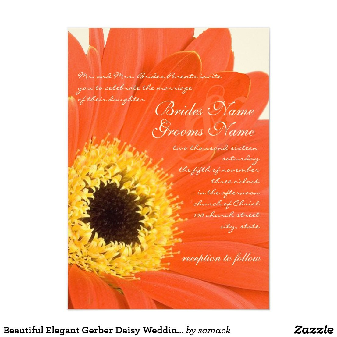 Beautiful Elegant Gerber Daisy Wedding Invitation | Knot | Pinterest ...