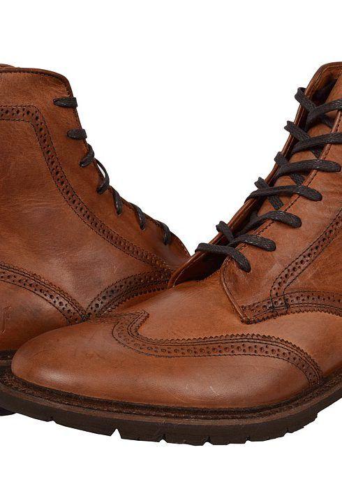 Frye James Lug Wingtip Boot (Cognac Smooth Full Grain) Men's Lace-up Boots
