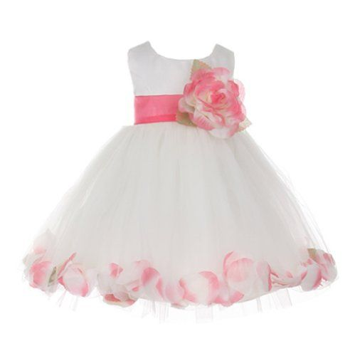b1aa053d7d1 Cinderella Couture Baby-Girls Satin Tulle Petal Dress 6M Sm Wht Coral  (B1170) Cinderella Couture