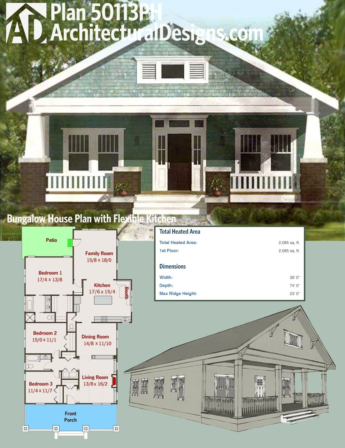 Architectural designs 3 bed bungalow house plan has a for Bungalow house plans 2000 square feet